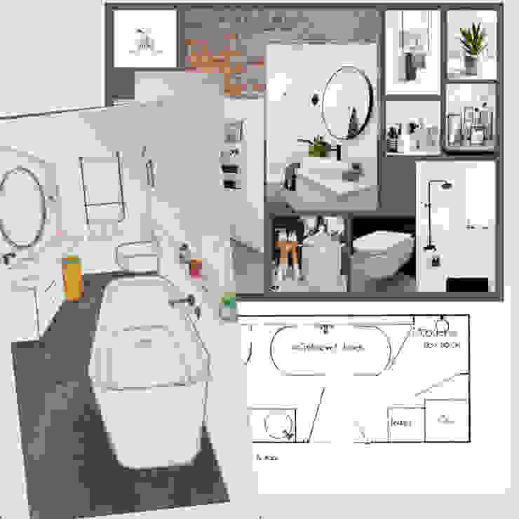 Design plan industriële badkamer Industriële badkamers van Studio Room by Room Industrieel