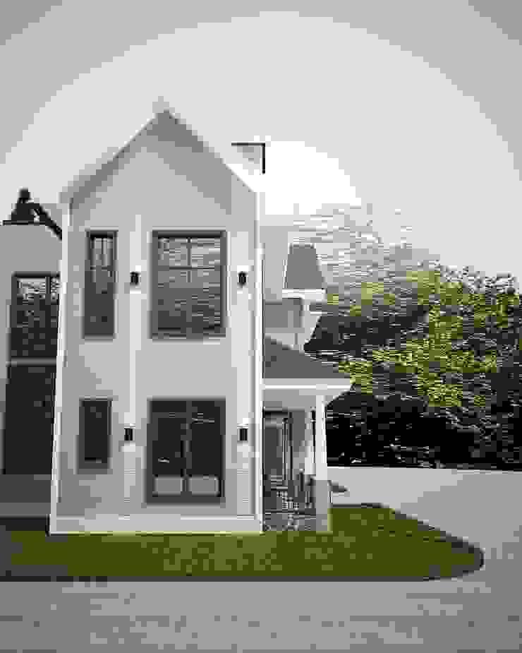 Tampak samping Rumah Gaya Country Oleh Lighthouse Architect Indonesia Country