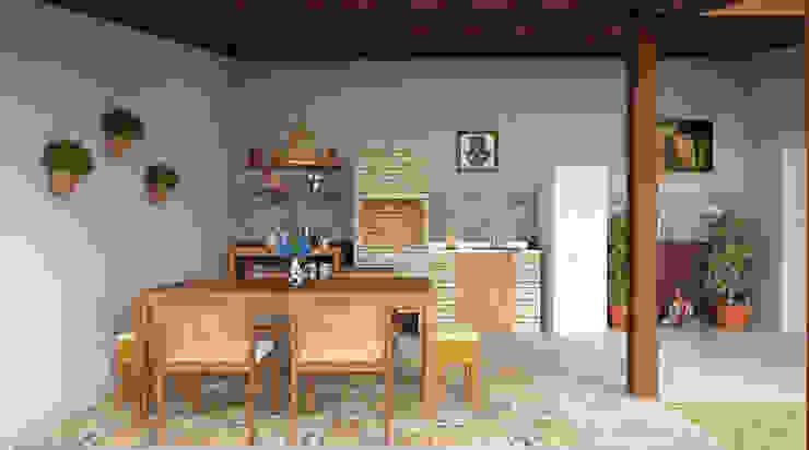 Projeto de varanda rústica e super zen Jardins modernos por EasyDeco Decoração Online Moderno