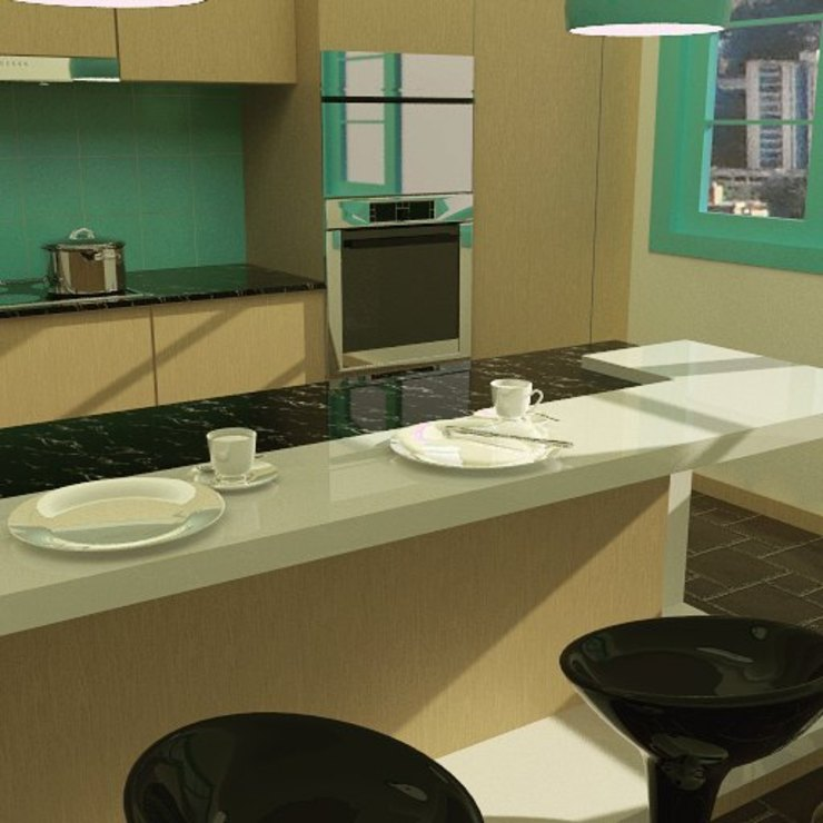 kitchenette de Arq Darwin Machiste Moderno Madera Acabado en madera