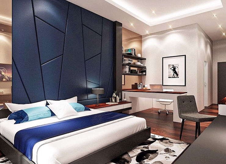 Red chocolate in blue Kamar Tidur Modern Oleh Lighthouse Architect Indonesia Modern