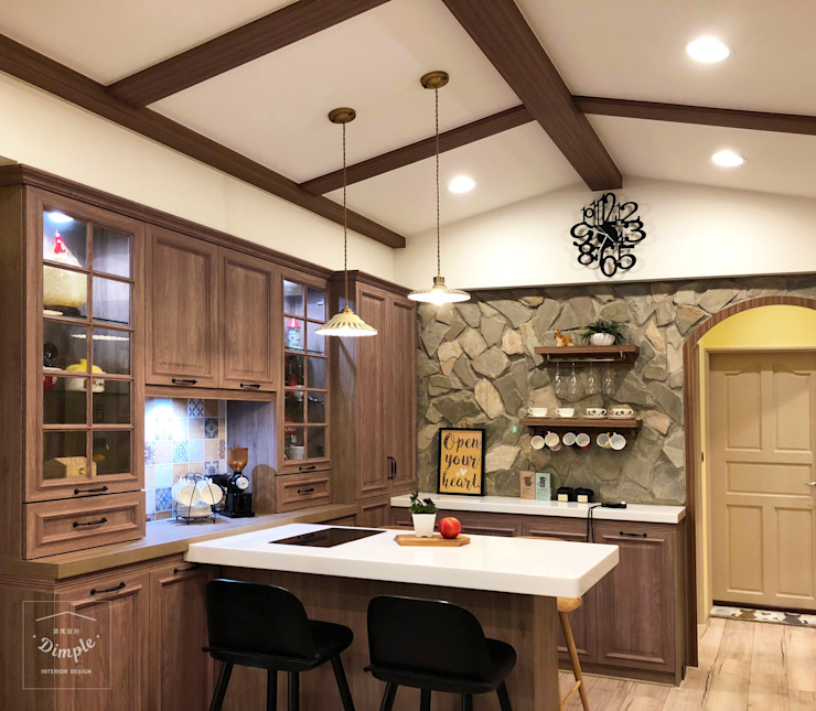 Country style dining room by 酒窩設計 Dimple Interior Design Country Slate