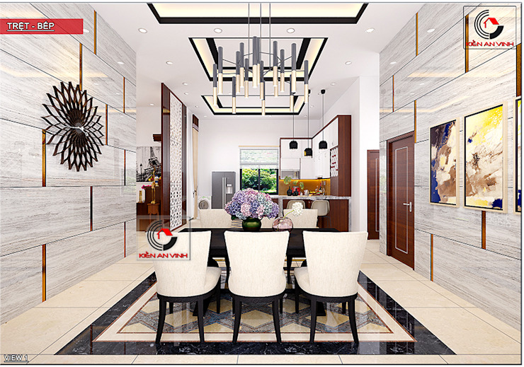 Thiet Ke Biet Thu Tret 200m2 Phong Cach Mai Thai Dep Phòng ăn phong cách hiện đại bởi Cong ty thiet ke nha biet thu dep Kien An Vinh Hiện đại