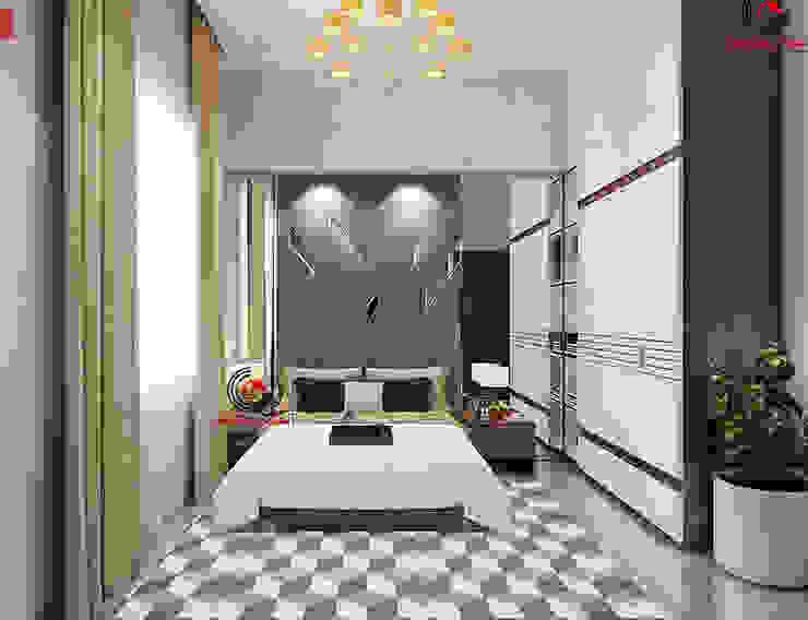 Thiet Ke Biet Thu Tret 200m2 Phong Cach Mai Thai Dep Phòng ngủ phong cách hiện đại bởi Cong ty thiet ke nha biet thu dep Kien An Vinh Hiện đại
