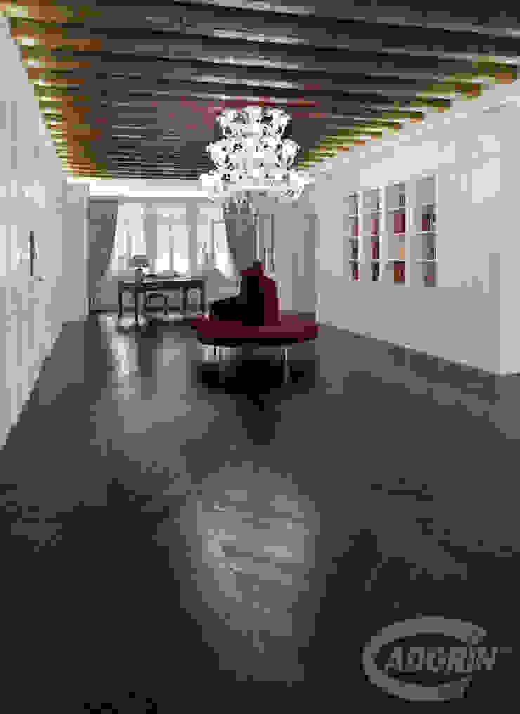 Wenge tone Wood floor - Oak Chevron 45 pattern Cadorin Group Srl - Italian craftsmanship production Wood flooring and Coverings Study/office Black