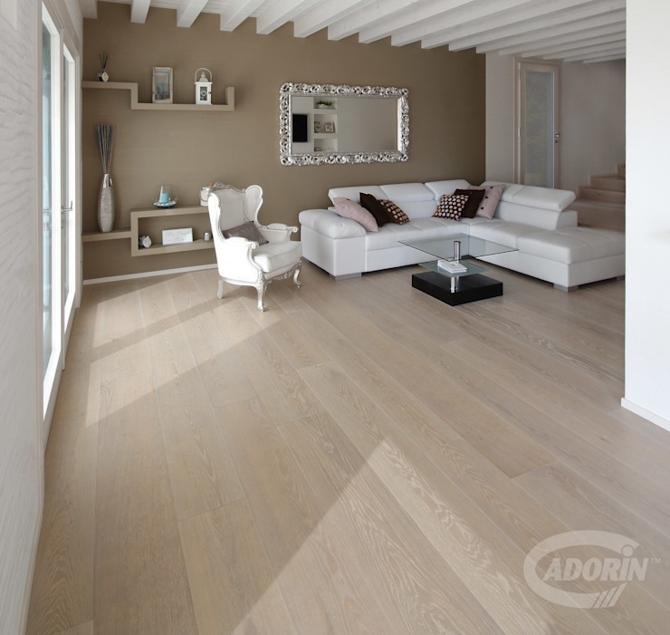 Rock Oak wood floor 地中海デザインの リビング の Cadorin Group Srl - Italian craftsmanship Wood flooring and Coverings 地中海