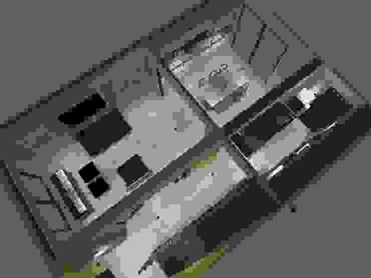 piso 1 Pasillos, halls y escaleras minimalistas de ATELIER3 Minimalista Bambú Verde