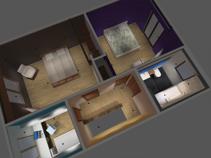 piso2 Dormitorios de estilo minimalista de ATELIER3 Minimalista Bambú Verde