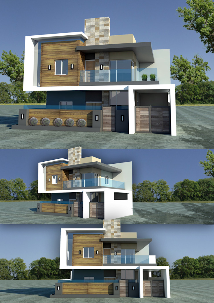 Mixed Materials double storey house Modern home by Sindac Architectural Design and Consultancy Modern