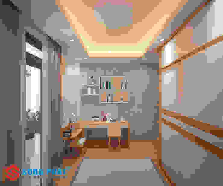 Nhà Phố 3 Tầng 1 Tum Hai Mặt Tiền Hiện Đại Thu Hút Ánh Nhìn Phòng ngủ phong cách hiện đại bởi Công ty Thiết Kế Xây Dựng Song Phát Hiện đại