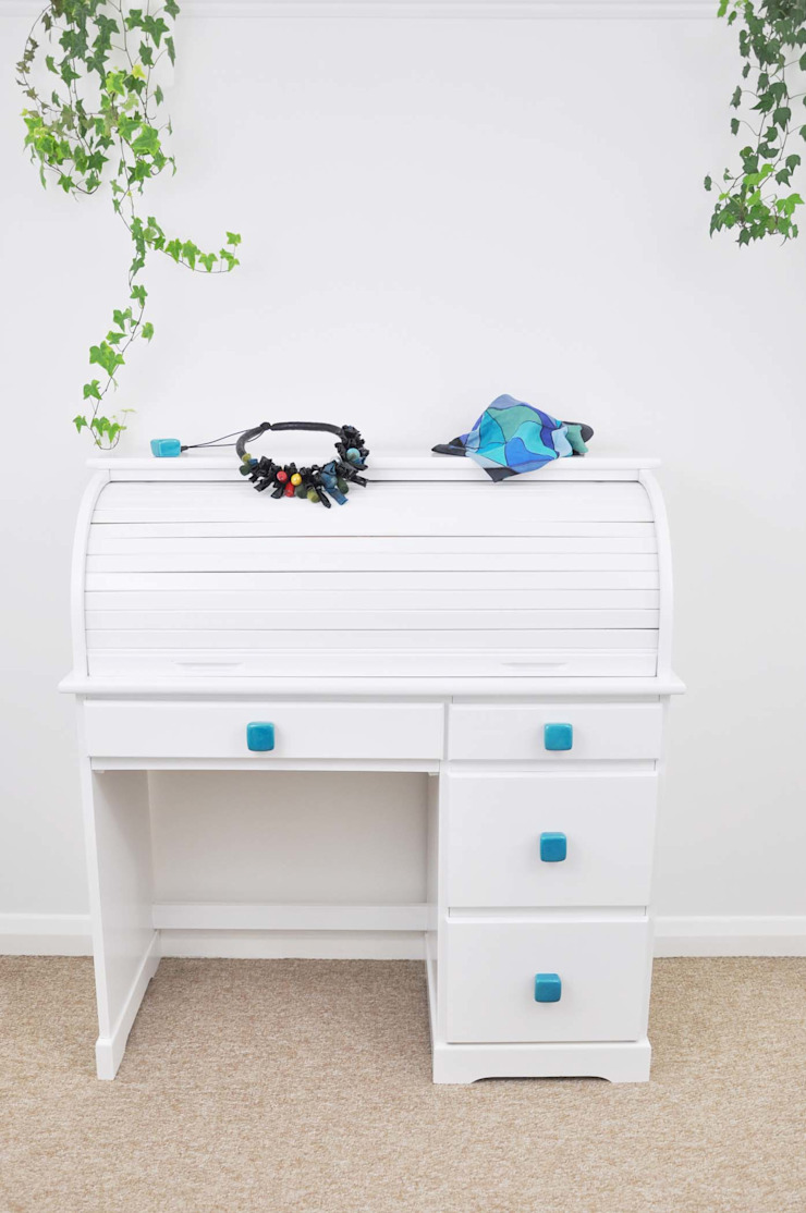 Ceramics handles - Cube - colour turquoise crackle glossy glaze Viola Ceramics Studio CasaAccessori & Decorazioni Ceramica Blu