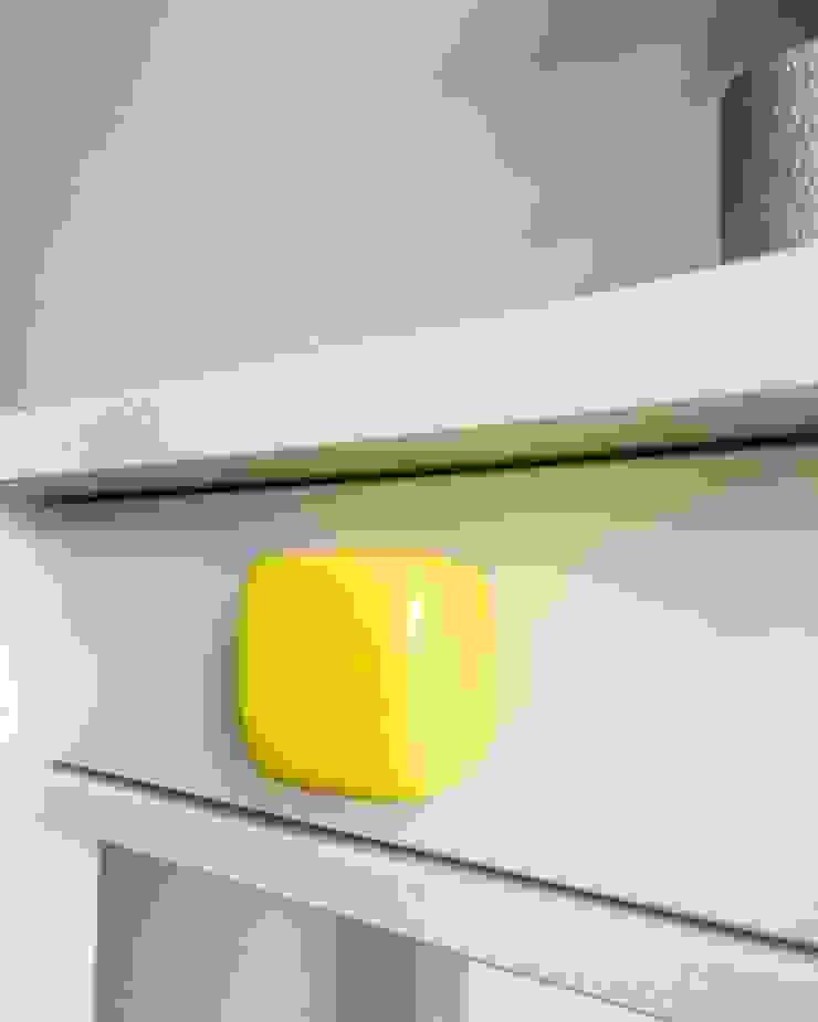 Ceramics handles - Cube - colour yellow glossy glaze Viola Ceramics Studio HouseholdAccessories & decoration Ceramic Yellow