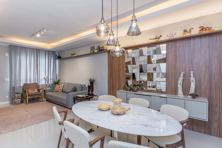 Erlon Tessari Arquitetura e Design de Interiores Ruang Makan Modern