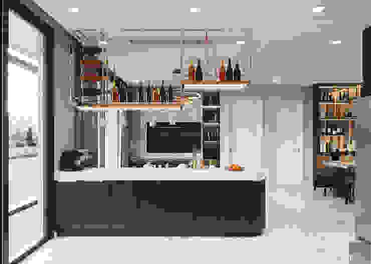 Căn hộ phong cách hiện đại: Không gian sống hoàn hảo cho gia đình bận rộn! Nhà bếp phong cách hiện đại bởi ICON INTERIOR Hiện đại