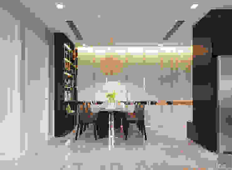 Căn hộ phong cách hiện đại: Không gian sống hoàn hảo cho gia đình bận rộn! Phòng ăn phong cách hiện đại bởi ICON INTERIOR Hiện đại