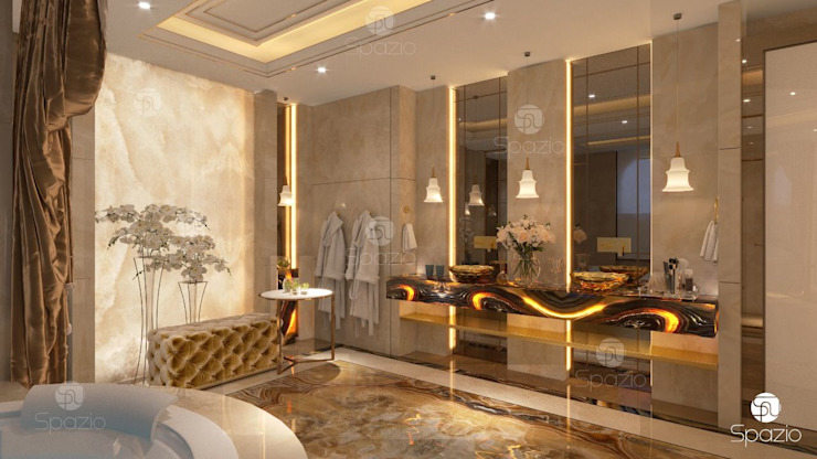 Luxury Master bathroom with Onix finishing من Spazio Interior Decoration LLC كلاسيكي رخام