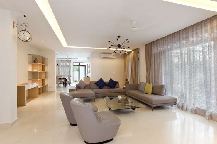Residence No.1 at Panache, chennai Modern living room by Synergy Architecture and Interiors Modern