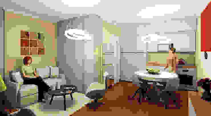 Render vista living cucina Cucina moderna di INTERNO 75 Moderno