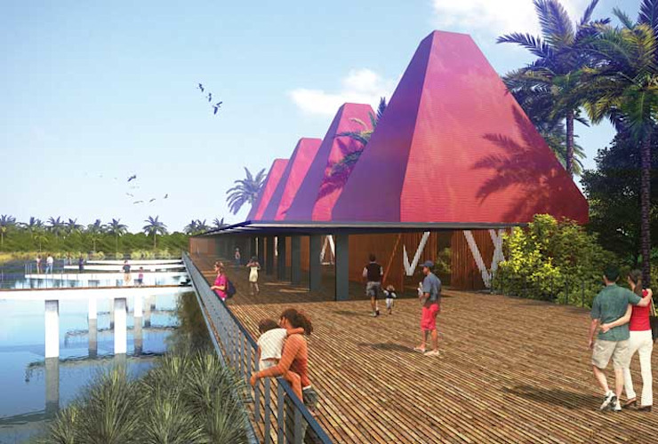 Muelle / Cocodrilario Balcones y terrazas tropicales de Taller Arquitectura Objetiva Tropical Bambú Verde