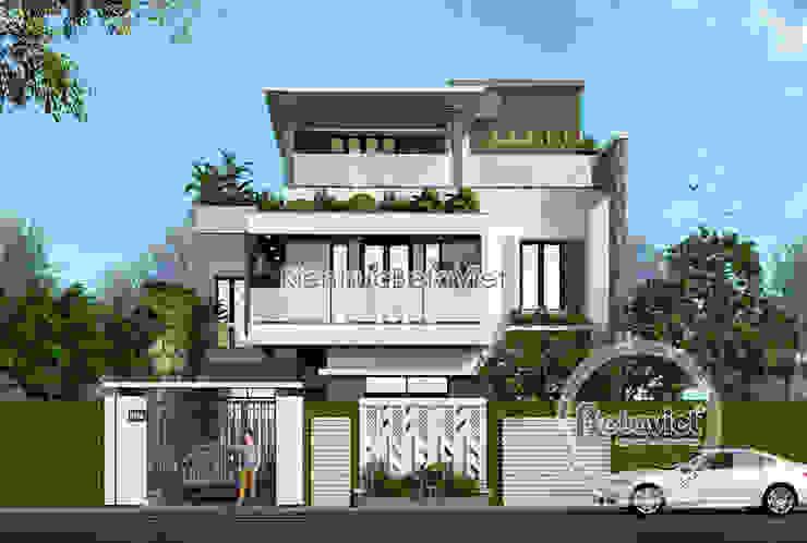 Phối cảnh mẫu thiết kế biệt thự Hiện đại mái bằng đẹp 3 tầng (CĐT: Ông Dương - Quảng Ninh) KT18043 bởi Công Ty CP Kiến Trúc và Xây Dựng Betaviet