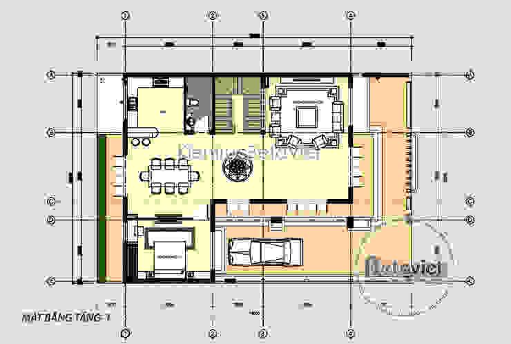 Mặt bằng tầng 1 mẫu thiết kế biệt thự Hiện đại mái bằng đẹp 3 tầng (CĐT: Ông Dương - Quảng Ninh) KT18043 bởi Công Ty CP Kiến Trúc và Xây Dựng Betaviet