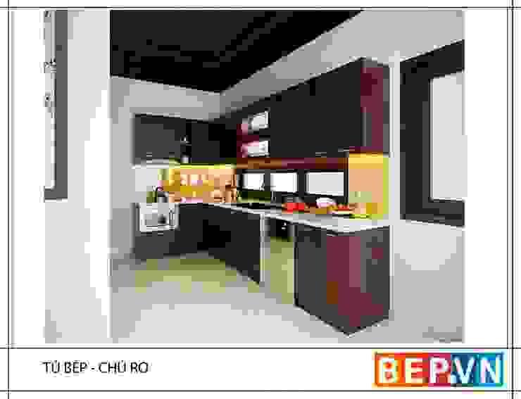 Tủ bếp Laminate chữ L gia đình chú Ro: tối giản  by bep-vn-406-Xa-dan-02462627762, Tối giản