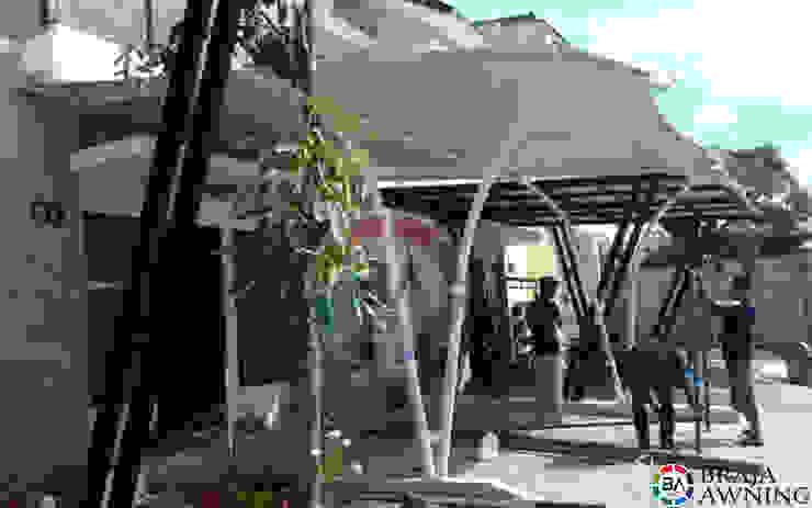 Tenda Membrane Jakarta (Teras Perumahan Jakarta):modern  oleh Braja Awning & Canopy, Modern Bahan Sintetis Brown