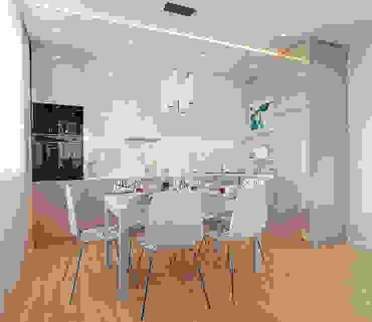 現代廚房設計點子、靈感&圖片 根據 Гузалия Шамсутдинова | KUB STUDIO 現代風