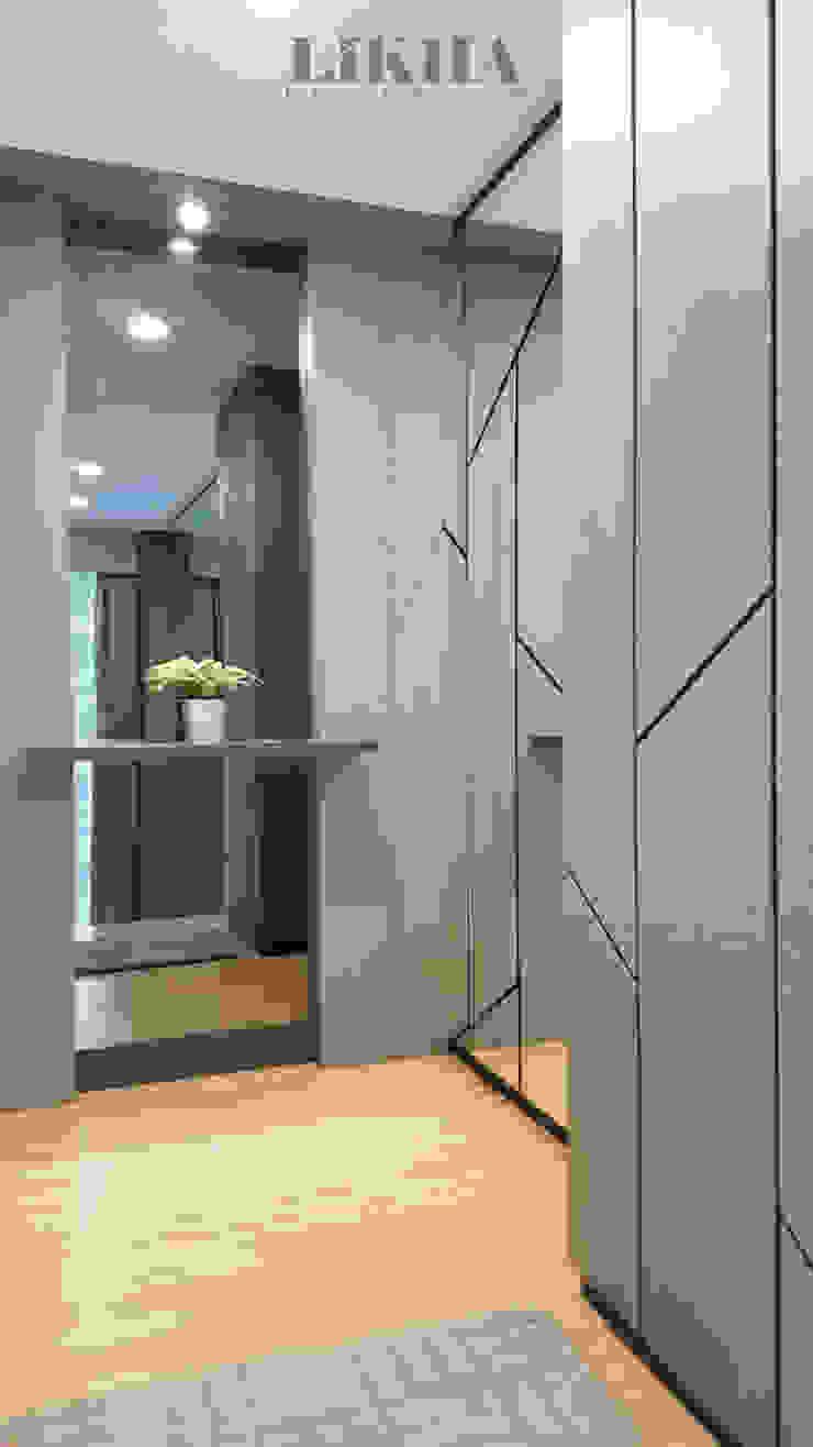 Likha Interior Modern corridor, hallway & stairs Plywood Grey