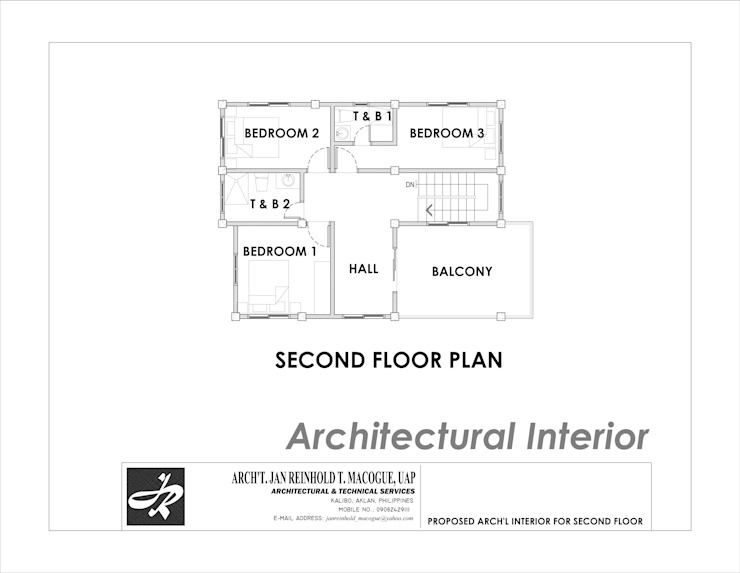Second floor plan by Arch't. Jan Reinhold T. Macogue (Architectural & Technical Services) Modern