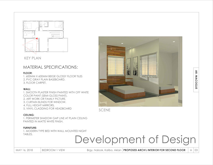 Bedroom 1 view Modern style bedroom by Arch't. Jan Reinhold T. Macogue (Architectural & Technical Services) Modern