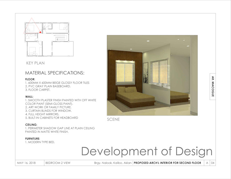 Bedroom 2 view Modern style bedroom by Arch't. Jan Reinhold T. Macogue (Architectural & Technical Services) Modern