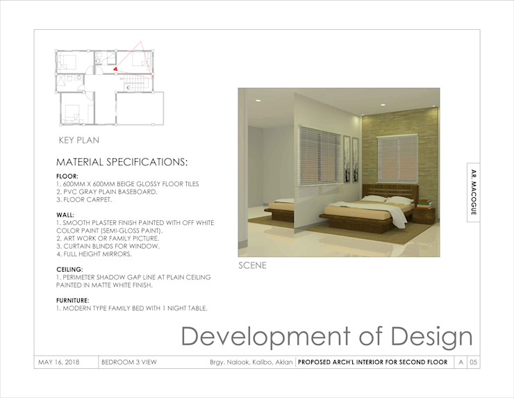 Bedroom 3 view Modern style bedroom by Arch't. Jan Reinhold T. Macogue (Architectural & Technical Services) Modern