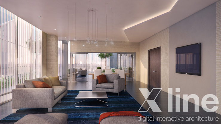One 88 by Xline 3D Modern Living Room by Xline 3D Digital Architecture Modern