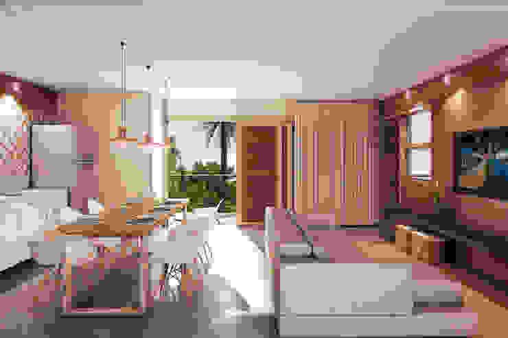 Salas de estar tropicais por Mutabile Arquitetura Tropical