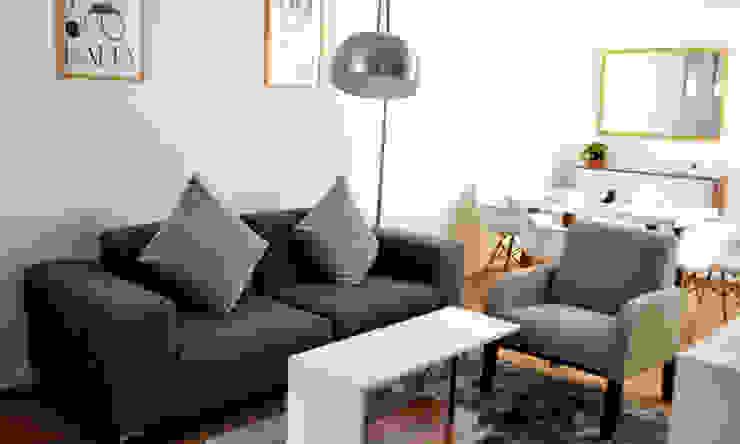 Sala acogedora Estudio Raya Salones minimalistas Gris