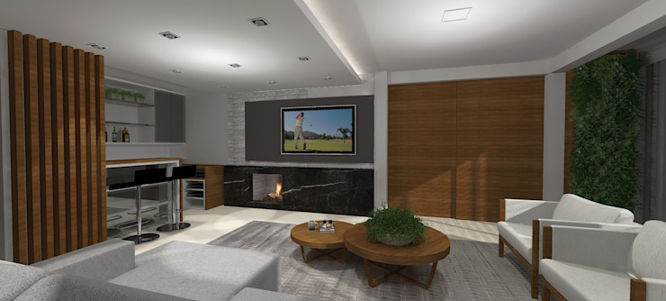 Salones de estilo moderno de Cláudia Legonde Moderno Madera Acabado en madera