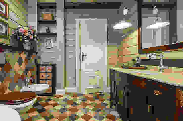 Baños de estilo rural de 'Студия дизайна Марины Кутеповой' Rural Madera Acabado en madera