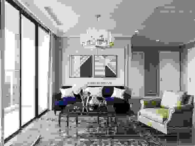 Thiết kế nội thất Tân Cổ Điển cao cấp Luxury 6 Vinhomes Golden River Phòng khách phong cách kinh điển bởi ICON INTERIOR Kinh điển