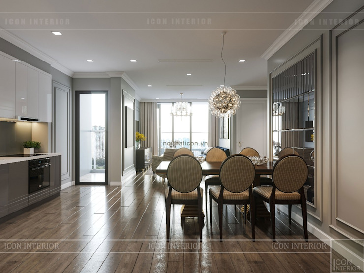Thiết kế nội thất Tân Cổ Điển cao cấp Luxury 6 Vinhomes Golden River Phòng ăn phong cách kinh điển bởi ICON INTERIOR Kinh điển