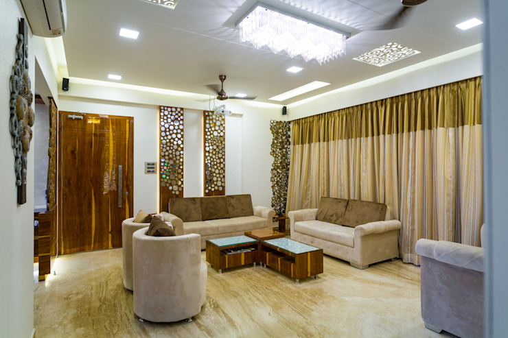 Rodas Enclave, Thane Modern living room by aasha interiors Modern