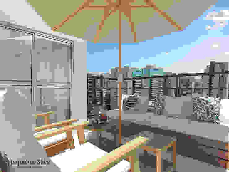 JAQUELINE SILVA ARQUITETURA E INTERIORES Modern Terrace Solid Wood Wood effect
