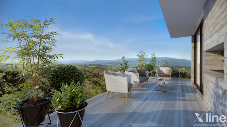Modern style balcony, porch & terrace by Xline 3D Digital Architecture Modern
