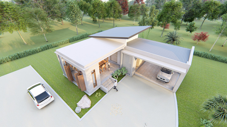 แบบบ้านพักอาศัย 1 ชั้น ค.ส.ล. โดย Takuapa125 โมเดิร์น