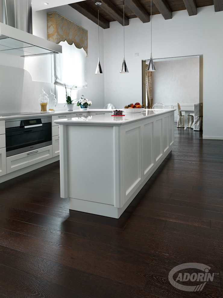 Oak wood floor in Wenge tone Cadorin Group Srl - Italian craftsmanship production Wood flooring and Coverings Built-in kitchens