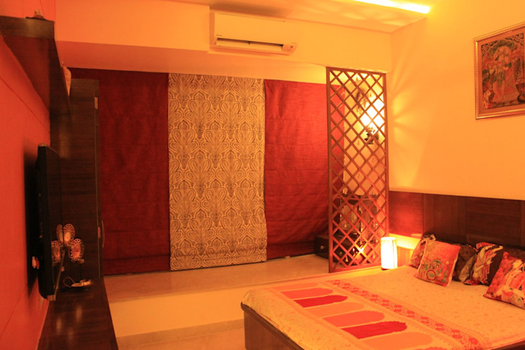 Parents Bedroom with Pooja Room Modern style bedroom by Dezinebox Modern
