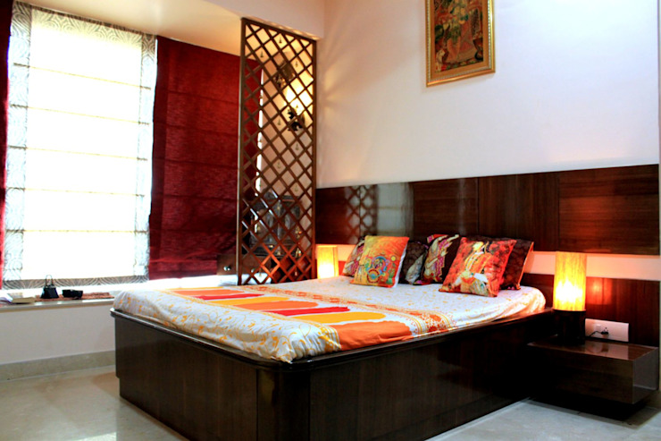 Parents Room with dedicated Pooja Area Modern style bedroom by Dezinebox Modern