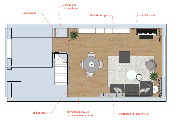 plattegrond woonkamer met eethoek van Stefania Rastellino interior design