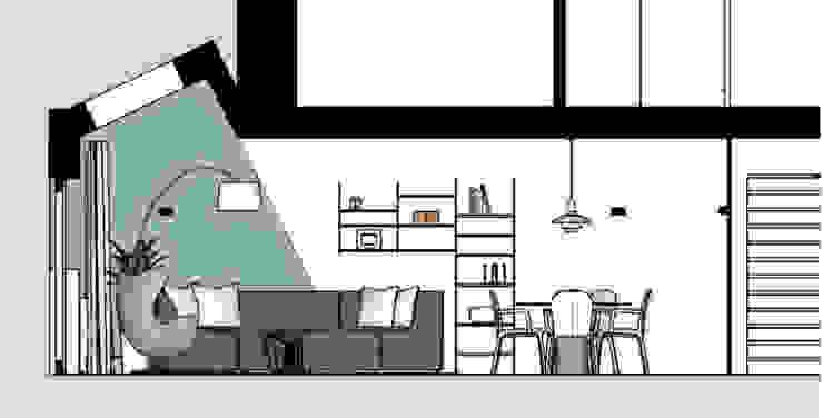 doorsnede van woonkamer met uitbouw, interieurontwerp van Stefania Rastellino interior design