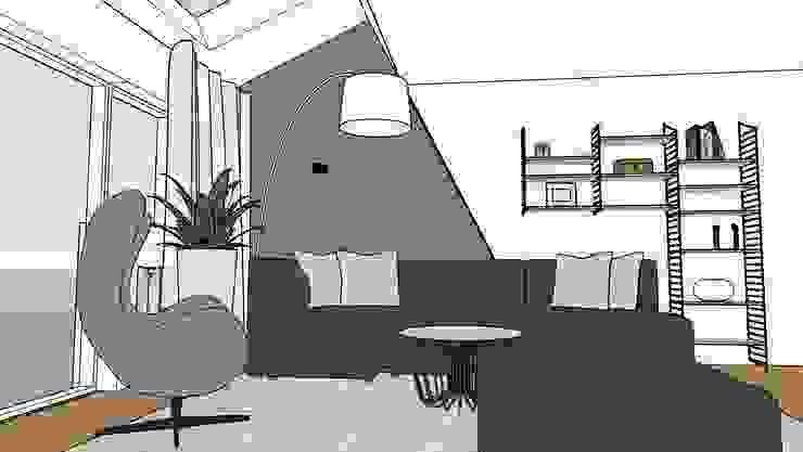 perspectief van woonkamer met uitbouw, interieurontwerp van Stefania Rastellino interior design